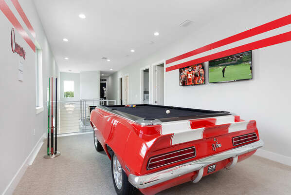The room features 2 TVs so you can play and not miss a big game
