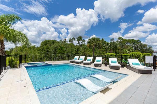 Relax in the custom built pool