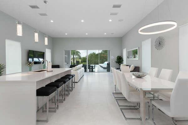 The living area has a contemporary design