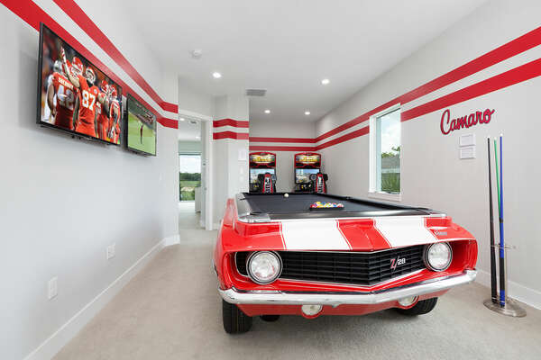 Play a round of pool on the custom built Camaro pool table