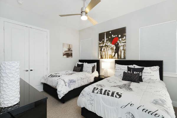 Paris themed bedroom 2 full beds