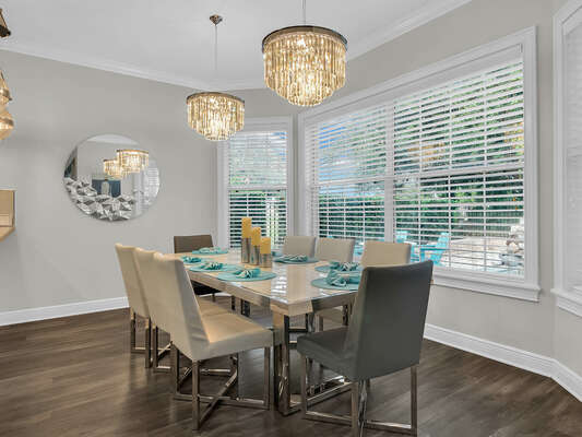 This modern dinning room table  seats 8