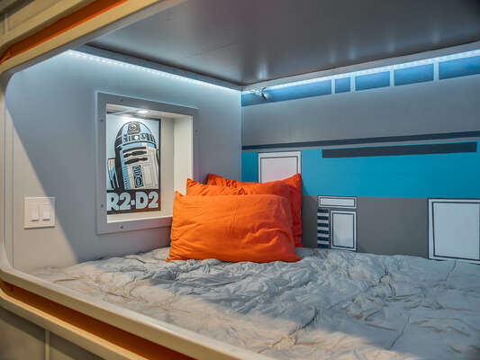 Every bunk bed features it's own special character and themed lighting.