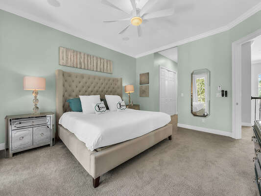 The second floor Master Suite features a comfortable King bed and luxurious details