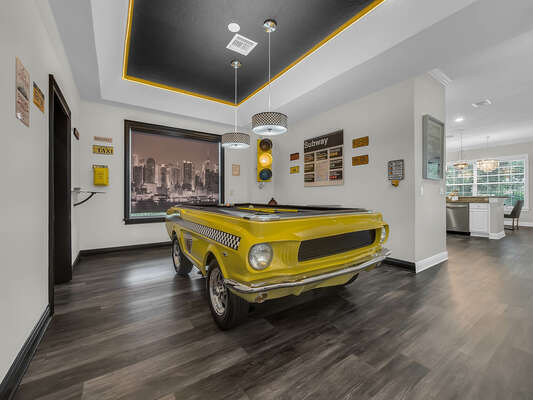 1967 Mustang slate pool table with working Taxi phone and traffic lights
