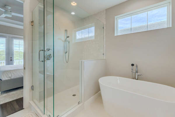 Large walk-in shower and garden tub
