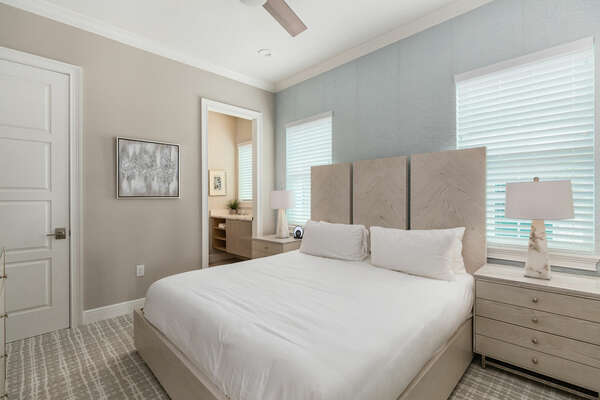 Upstairs bedroom with king-size bed