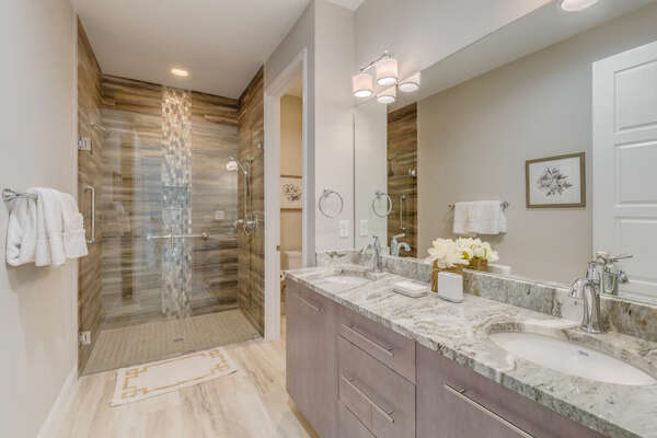 Large master bath with a dual vanity and walk-in shower