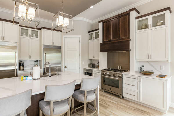 Beautiful marble countertops and large marble island