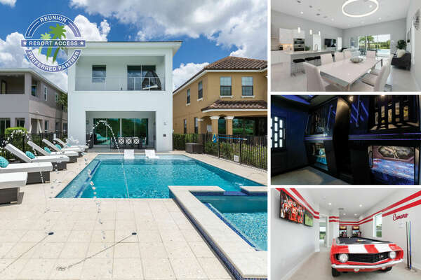 Modern Oasis is a custom-built villa with a West facing pool, splash pad, movie room, and custom kids bedroom  | PHOTOS TAKEN: July 2019