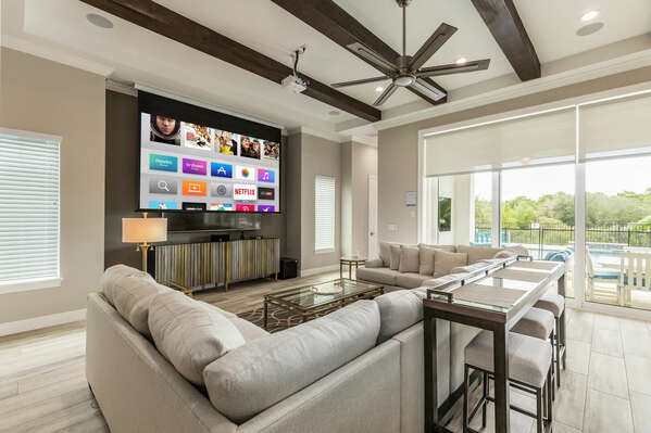 This spacious area is designed for entertaining