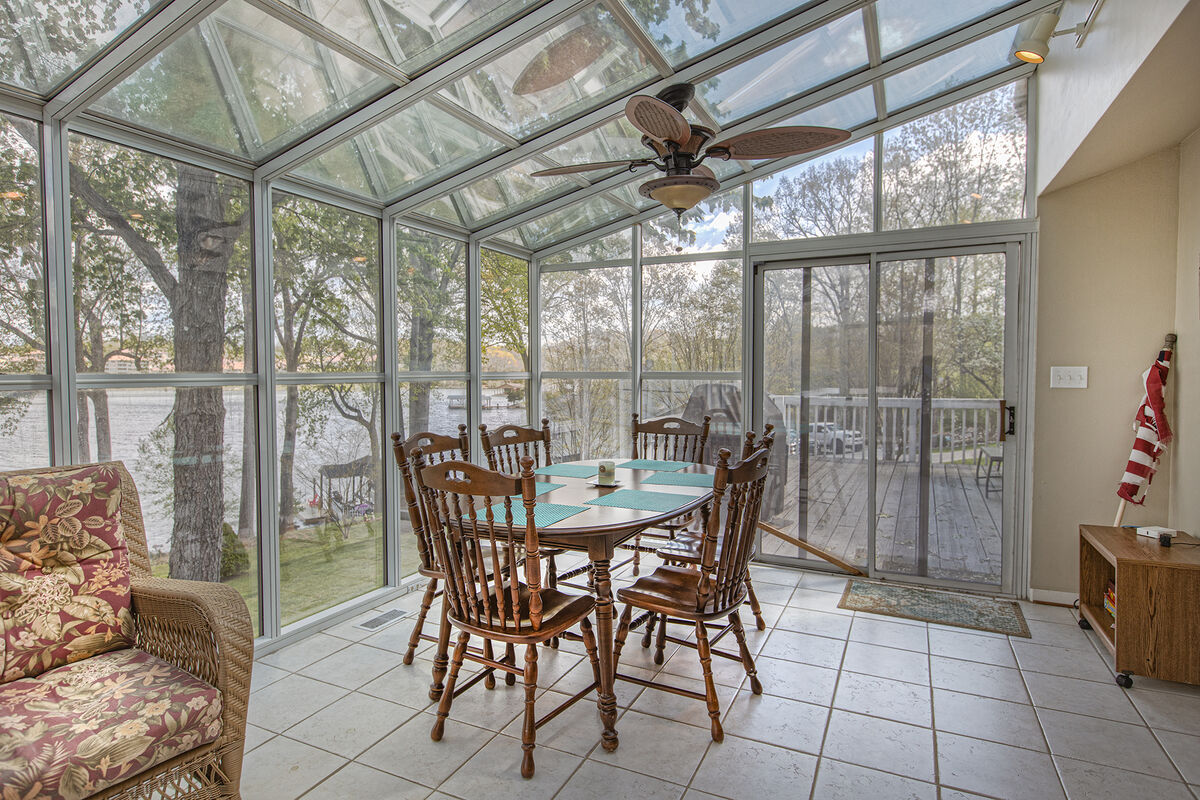 Dining Table in the Glass-Enclosed Patio