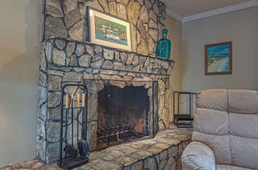 Cozy Fireplace in the Living Area of our Smith Mountain Lake Vacation Rental