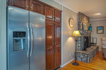 View of the Fridge and Fireplace in our Smith Mountain Lake Vacation Rental