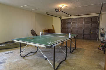 Ping Pong Table in the Garage of our Lake Escape Home