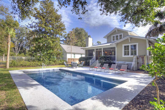 Another angle of the backyard pool of this house to rent in St. Simons Island GA.