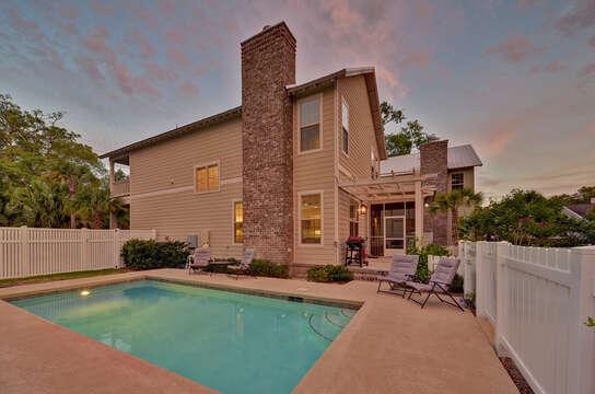 Backyard pool at this rental St Simons Island GA