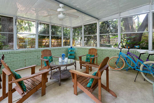Enclosed Patio at our Vacation Rental in St. Simons Island, GA