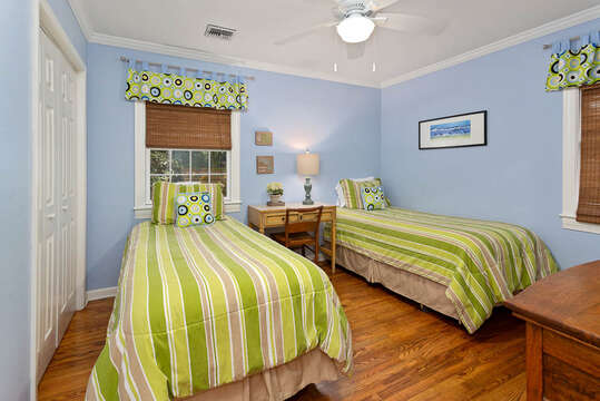 Third Bedroom with Two Twin Beds in our Vacation Rental in St. Simons Island, GA