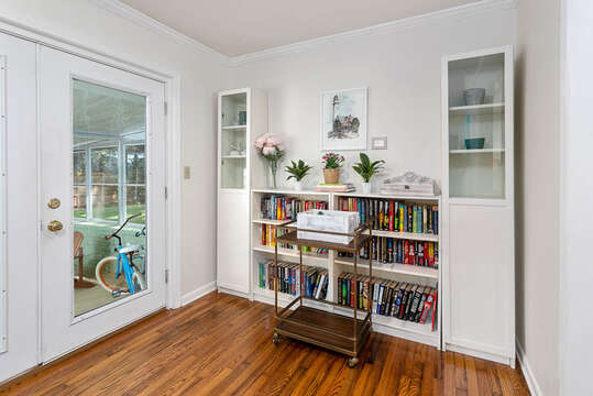 Bookshelves Filled with Reading Material at our Vacation Rental in St. Simons Island, GA