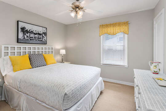 Enjoy Beautiful Bedroom with Yellow Accents.