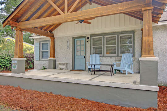 Relax on a Covered Porch Outside Rental.