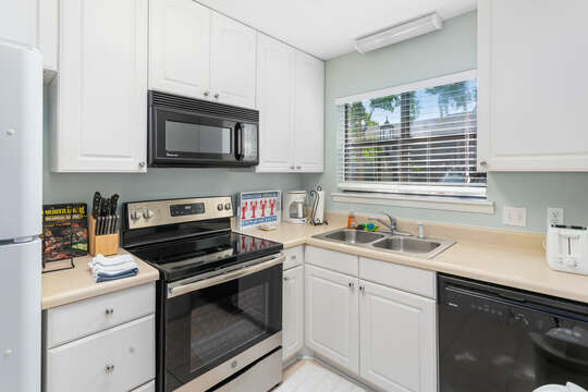 The kitchen, with modern appliances and comfortable counter space.