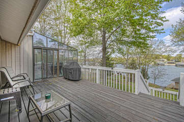 Deck Overlooking Lawn and Water
