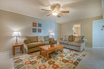 Comfortable Furnishings in the Lower Level Family Room
