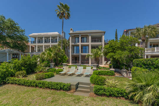 An Image of the Back of St Simons island Oceanfront Rental.