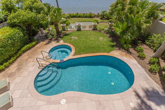 An Image from Above of Pool and Hot Tub.