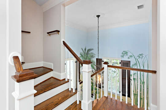 Wooden Staircase in St Simons island Oceanfront Rental.