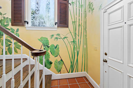 An Image of Painted Plants on Wall of Home.