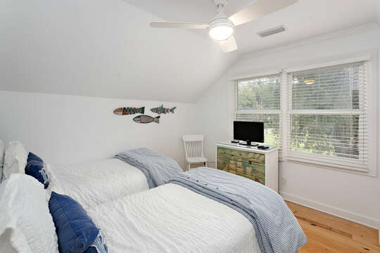 Upstairs Guest Bedroom #2 with two twin beds and an HD TV
