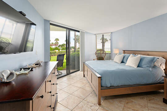 Master Bedroom with ocean views, king bed and an HD TV