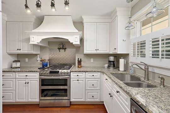 Luxury Kitchen Features Stainless Steel Appliances.