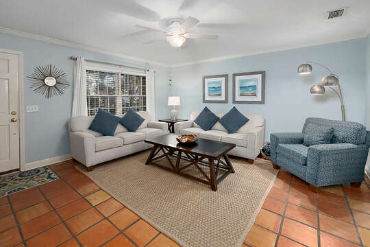 Living Area in of the Beachwalk Cottage in St. Simons Island, GA