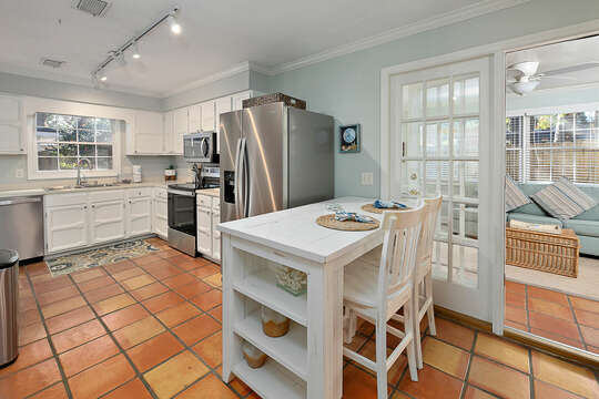 Kitchen with new stainless steel appliances and Breakfast Bar with seating for two