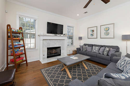 Living Room with plenty of seating and a large HD TV