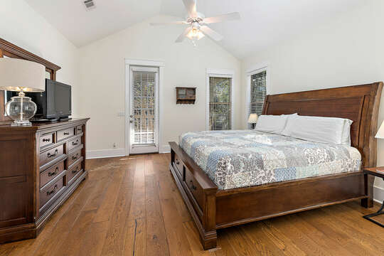 Second floor Master Bedroom with a King Bed with and HD TV
