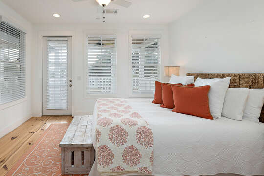 Upstairs Guest Bedroom with HD TV and private balcony