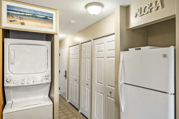 Stacked Washer/Dryer and Fridge
