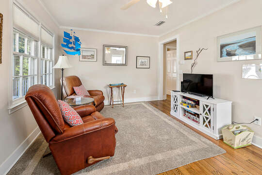 Front Den with sitting area with HD TV
