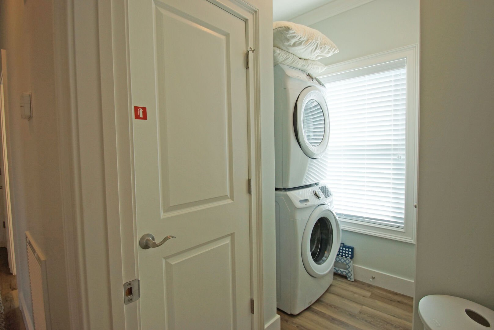 Stackable Washer and Dryer in the Laundry Room