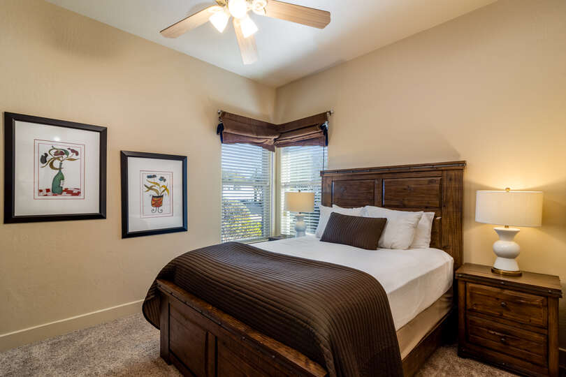 Bedroom with one bed, framed pictures, windows, and a ceiling fan