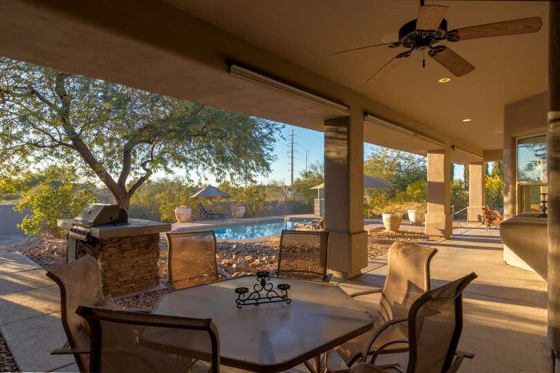 Backyard seating area at this Scottsdale Arizona Vacation Rental
