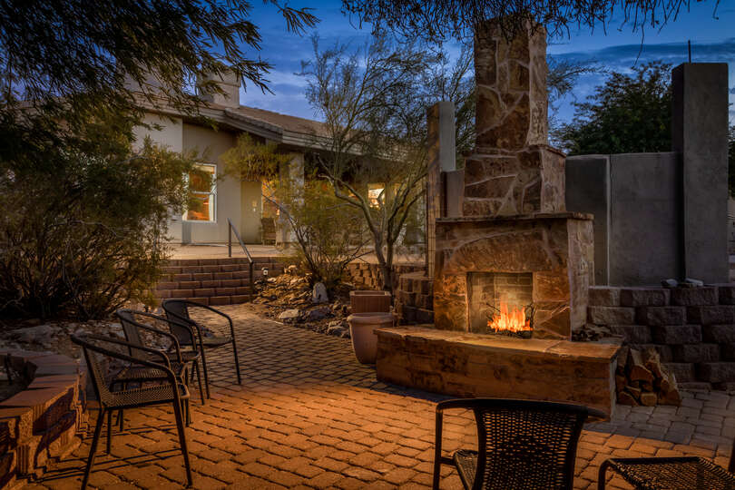 Outdoor fireplace at this Scottsdale Arizona Vacation Rental