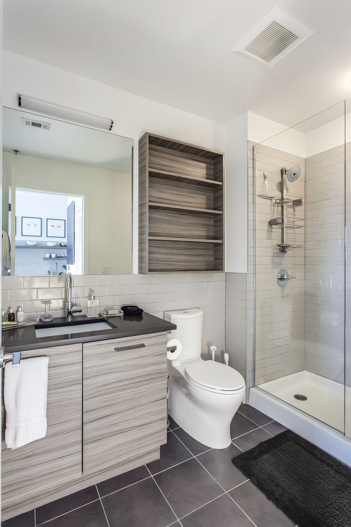 Bathroom with Walk-in Shower, Toilet, and Vanity