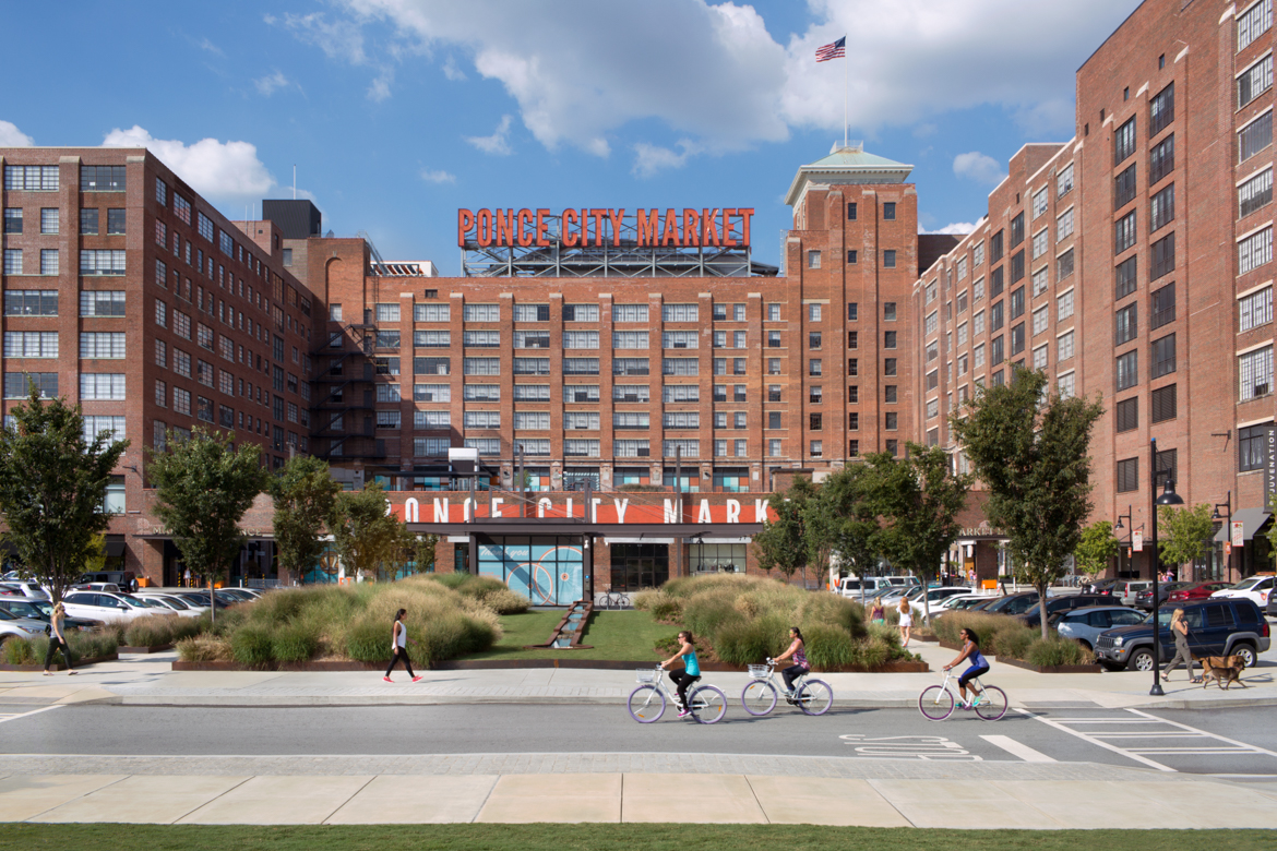 Exterior of Ponce City Market next to Twilight Adobe