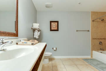 Large bathroom with tub/shower combo.